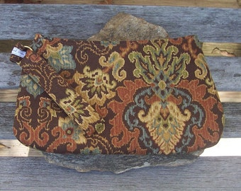 Autumn Tapestry Wristlet - Clutch Handbag Purse - Fall Medieval Rennaissance Paisley - Swoon Coraline - As Is
