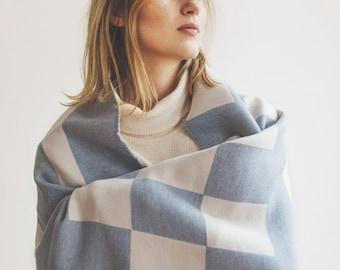 Merino Lambswool Bloc Blanket - Skye