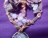 Tree of Life in Birthstones of Amethyst and Lavender Jade for the month of February, 53mm Pendant with Purple Druzy,Copper Hummingbirds