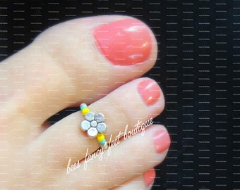 SALE - Toe Ring - Violet Flower - Silver Stretch Bead Toe Ring