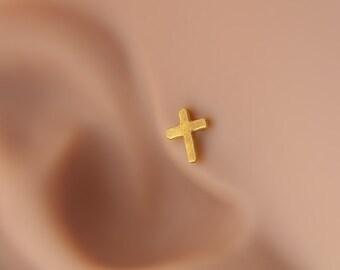 Tragus earrings, Cross tragus earring, tragus 16G, tragus BioFlex, tragus piercing, labret piercing,tragus earring flat back,trgus gold