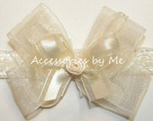 Frilly Ivory Headband Organza Satin Bow Skinny Lace Band Newborn Infant Baby Girls 1st Accessory Baptism Christening Blessing Photo Prop