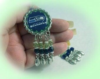 Seahawk Fans NEW Dangle Earrings with Bottle Cap Charm Gift Boxed