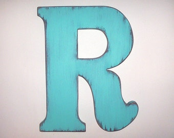 Wooden Letters Big 12 inch letter Booted R Bimini Blue Distressed Shower gift nursery letters