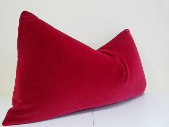 Deep Red Velvet Lumbar Pillow Cover Decorative Throw