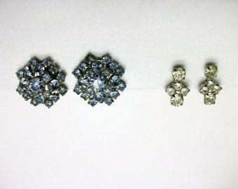 Blue rhinestone clip earrings and clear rhinestone screw back earrings. Vintage 1960's.