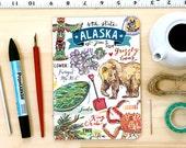 Alaska notebook, blank journal, the Last Frontier, state symbols, illustration, personalized stationery.