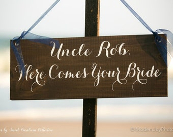 Uncle Here Comes Your Bride Ring Bearer Sign - WS-2
