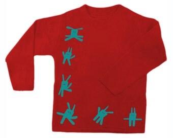 Children Bunny shirt, long sleeved, unisex kids apparel, rabbit print