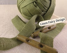5 meters 100% Linen Ribbon Tape Trim 25 mm Khaki Knitted Sewing Crafts Jewelry