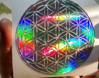 "Flower of Life Sticker.  Special Editions And Single Layer Prismatics. In 3.75"" Size."