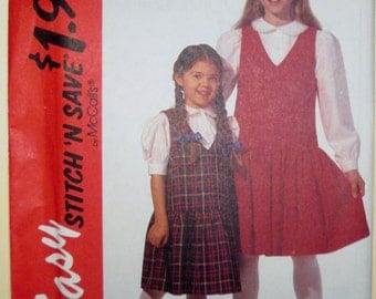 1994 Easy Stitch 'n Save by McCall's 7220 Children's / girls' jumper and blouse pattern sizes 7 - 12 included UNCUT