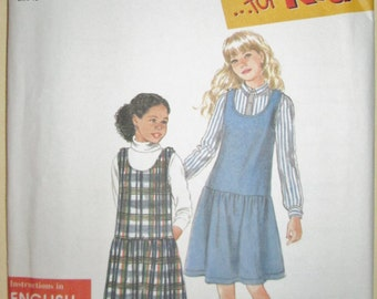 1995 Simplicity for kids 9721 Girl's jumper pattern sizes 7 - 14 included UNCUT