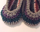 Serendipity Slippers  crochet house shoes stripes shades of gray, green, purple size 7-8  ONE OF A KIND ready to ship