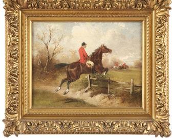 British School (19th Century) Antique Equestrian Painting, 410UPI02