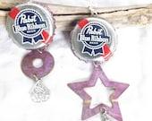 Pabst Blue Ribbon BEERings! Upcycled PBR Beer Bottle Cap Earrings