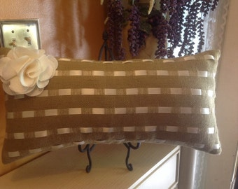 Burlap and Ivory Satin Ribbon Pillow Cover