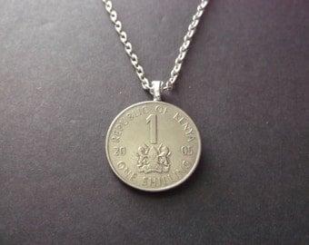 Kenya One Shilling Necklace -2005  Republic of Kenya Coin Pendant Coat of Arms