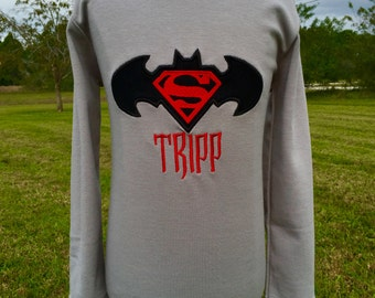 BATMAN VS SUPERMAN Personalized Embroidered T-shirt-Kids and Adults
