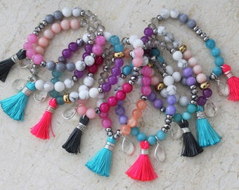 Jade Tassel Bracelet - Friendship Bracelet - Arm Candy - Boho Jewelry - Claribella