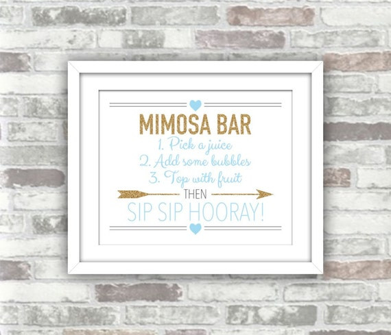 INSTANT DOWNLOAD - Printable Wedding Bridal Shower Mimosa Bar Sign - Digital File 8x10 - Gold Glitter Effect Pale Baby Blue - Sip Hooray