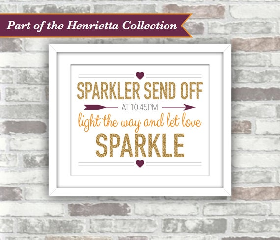 PRINTABLE Digital File - Henrietta Collection - Wedding Sparkler Send Off Sign - Personalised Time - 8x10 Gold Plum Burnt Orange Fall Autumn