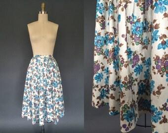 Vignes D'automne skirt | Vintage 1950's floral circle skirt | 50's cotton pleated printed skirt
