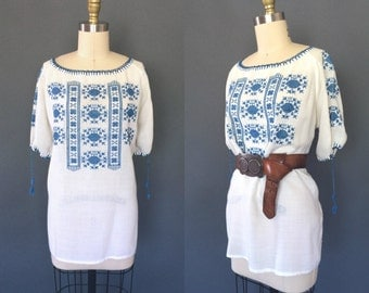 Ecaterina blouse | Vintage 1960s Romanian embroidered top | 60s gauze puff sleeve folk blouse