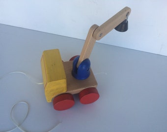 Vintage Wooden Tow Truck Pull Toy
