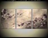Original Acrylic Impasto Modern Abstract  Painting on  Gallery wrapped Canvas 48 x 20 Home Decor,--- Purple Cherry Blossoms----