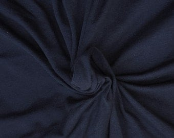 "Navy Modal Cotton Spandex Fabric Jersey Knit by the Yard 63""W 6/16"