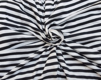 """Black Off White 1/4"""" Stripes Modal Spandex Fabric Jersey Knit By the Yard 6/16"""