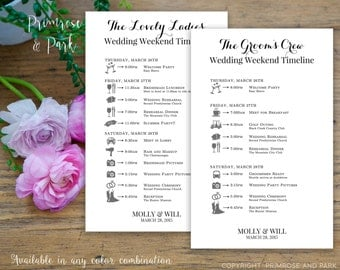 Bridal Party Wedding Timeline Printed Cards // Wedding Itinerary // Schedule of Events