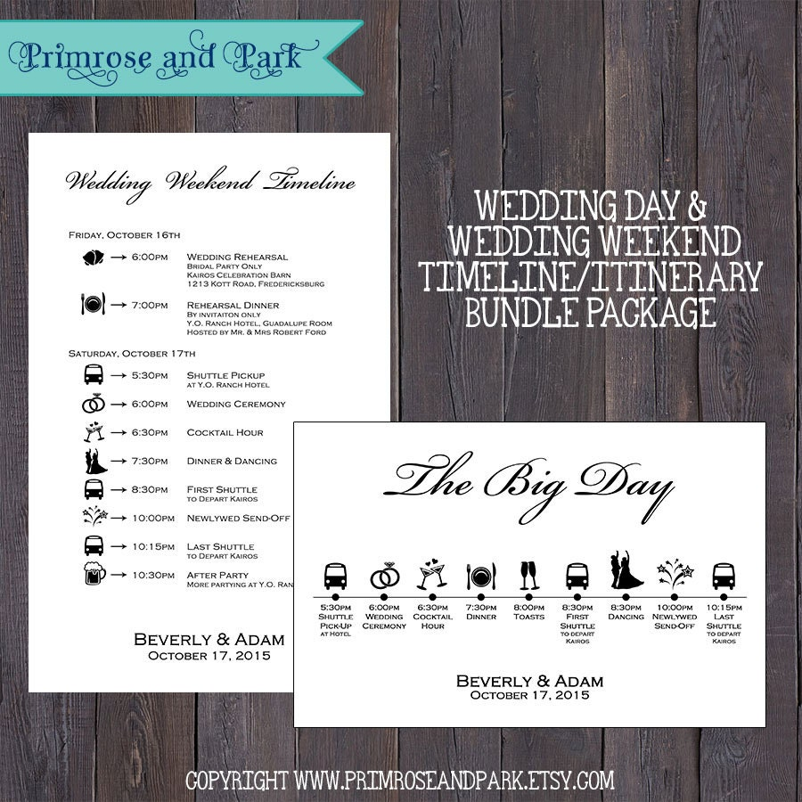 Wedding Day And Weekend Timeline Printable Bundle Wedding