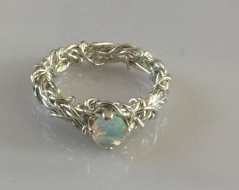 5mm Ethiopian Fire Opal Ring, Sterling Silver Ring, Coiled Ring, Crown of Thorns Ring, Purity Ring, Engagement Ring