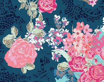 Baby Bedding Crib Bedding - Coral, Navy, Floral Rose