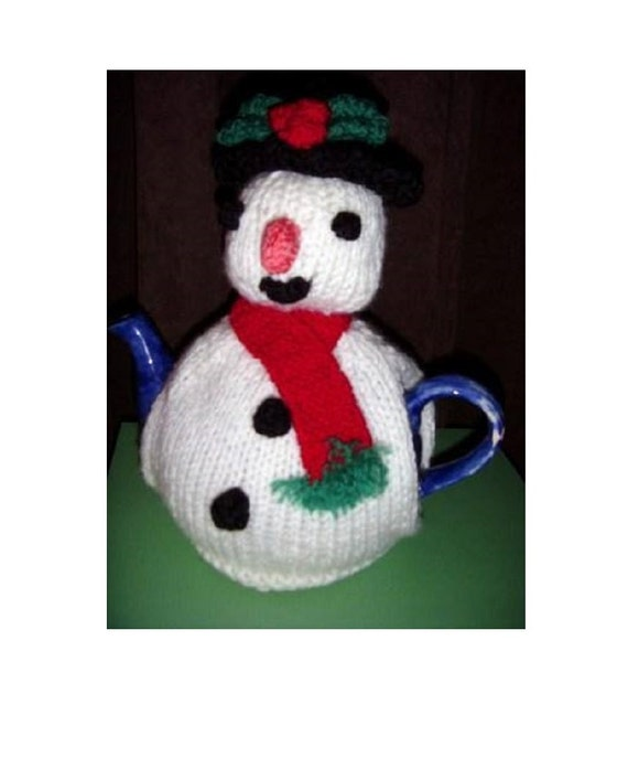 Tea cosy with christmas snowman easy knit double knitting wool