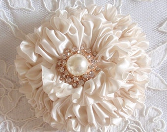 Handmade Ribbon Flower With Pearls  (3.5 inches) In Cream MY-445-04 Ready To Ship
