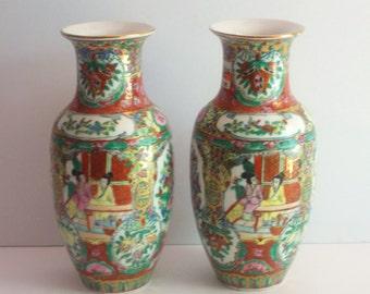 Chinoiserie Vase Pair,Vintage Vases,Chinoiserie Chic,Porcelain Vases,Asian Decor,Asian Vases,Hollywood Regency Decor,Hollywood Regency Vases