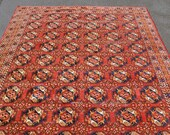 On HOLD for MEGAN -- Antique Turkoman Bukhara Rug -- 9 ft. 3 in. by 6 ft. 2 in.