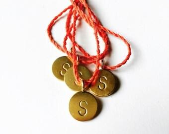 Personalized silk bracelet, gold plated letter pendant, delicate friendship bracelet, dot pendant, initial jewelry, wish bracelet