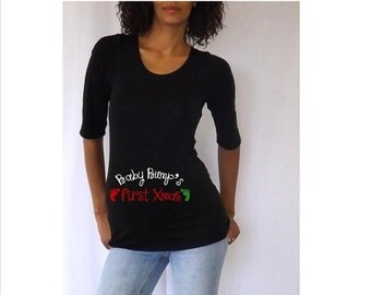 """Spring Sale 10% Discount Ends April 15th Christmas Maternity Shirt """" Baby Bump's First Xmas""""   Stylish 3/4 sleeves Choose y..."""