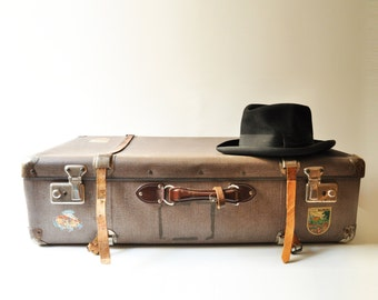 1950's Large Suitcase - Midcentury Luggage With Authentic Travel Stickers