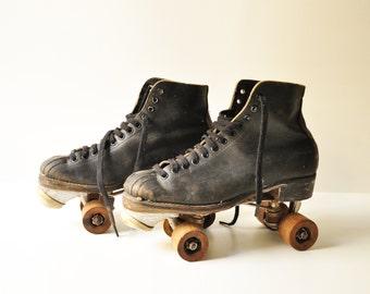 1914 Black Leather Chicago Roller Skates - Co Ware Bros - Pat Aug 15, 1914