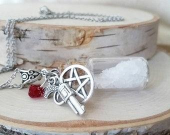Supernatural necklace - salt and burn - vial pendant - Ghost hunting - salt vial - ghost hunter - salt necklace - supernatural salt pendant