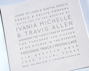 100 Letterpress Wedding invitations & envelopes