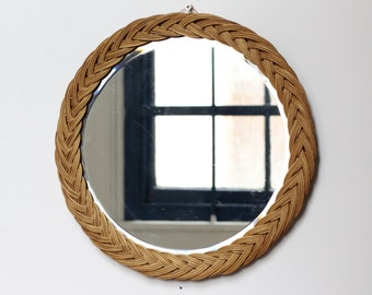Large Vintage French Wicker or Rattan  Mirror - Wall Mirrors