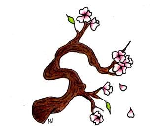Sweet Cherry Blossom Original Mini Illustration