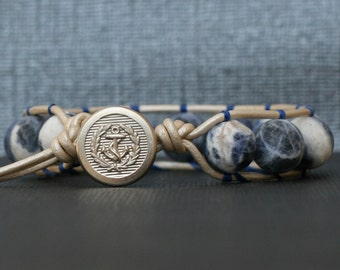 anchor bracelet - sodalite bracelet - leather gemstone stacking bangle wrap bracelet - boho sailor jewelry - blue and white