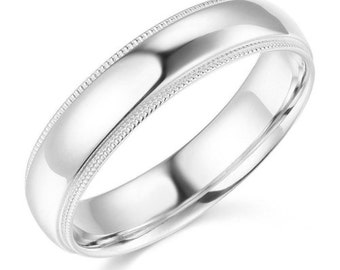 14Kt White Gold Milgrain Wedding Band 5mm
